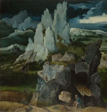 Workshop of Joachim Patinir, Saint Jerome in a Rocky Landscape, 1515-24 (National Gallery, London)