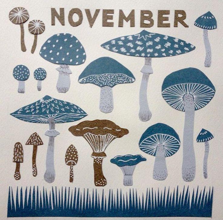 Calendar picture, November. Paper cut.