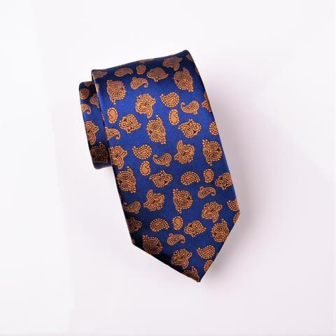 "B2B Shirts - Bronze Lavish Baroque Paisley Floral Blue Skinny Modern Tie 3"" - Business to Business"