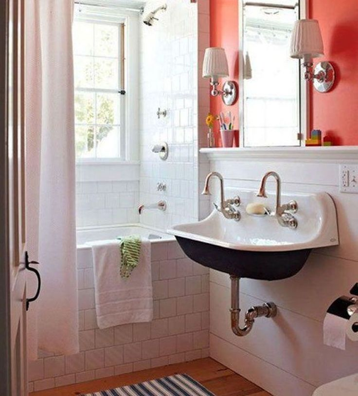 Red wall bathroom