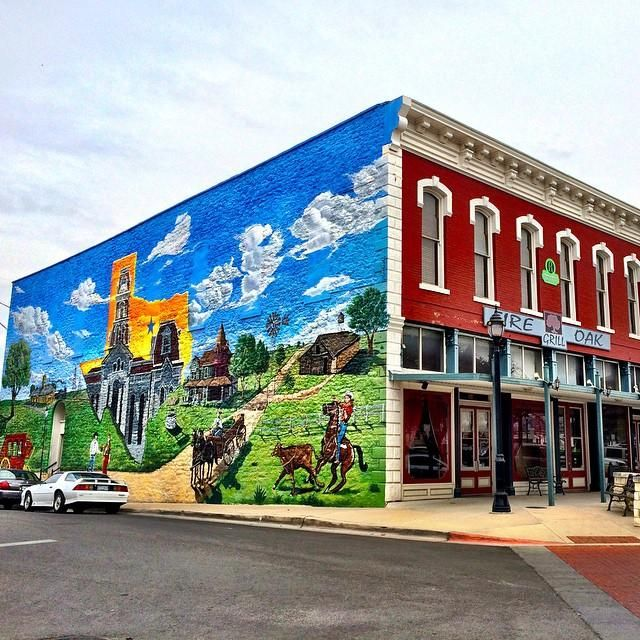 One of the coolest murals in Texas! I saw it today in Weatherford. 114 Austin Avenue - on the Fire Oak Grill Building