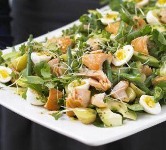 Hot-smoked salmon, double cress & potato salad platter