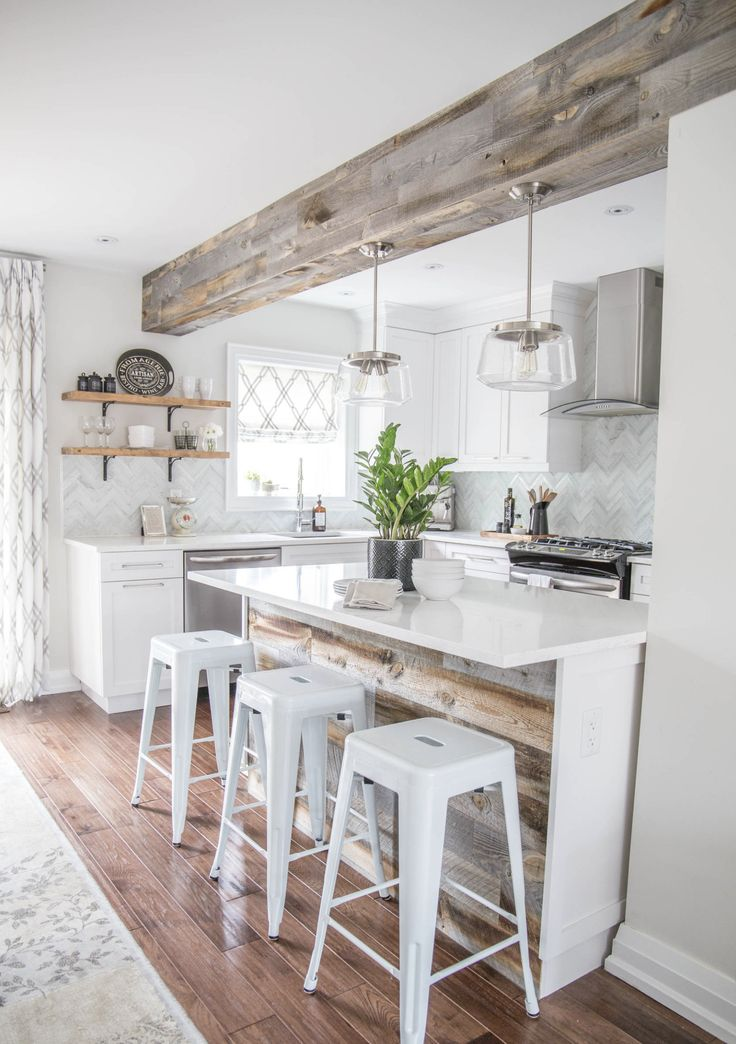 Use a rustic wooden beam To define the space between the
