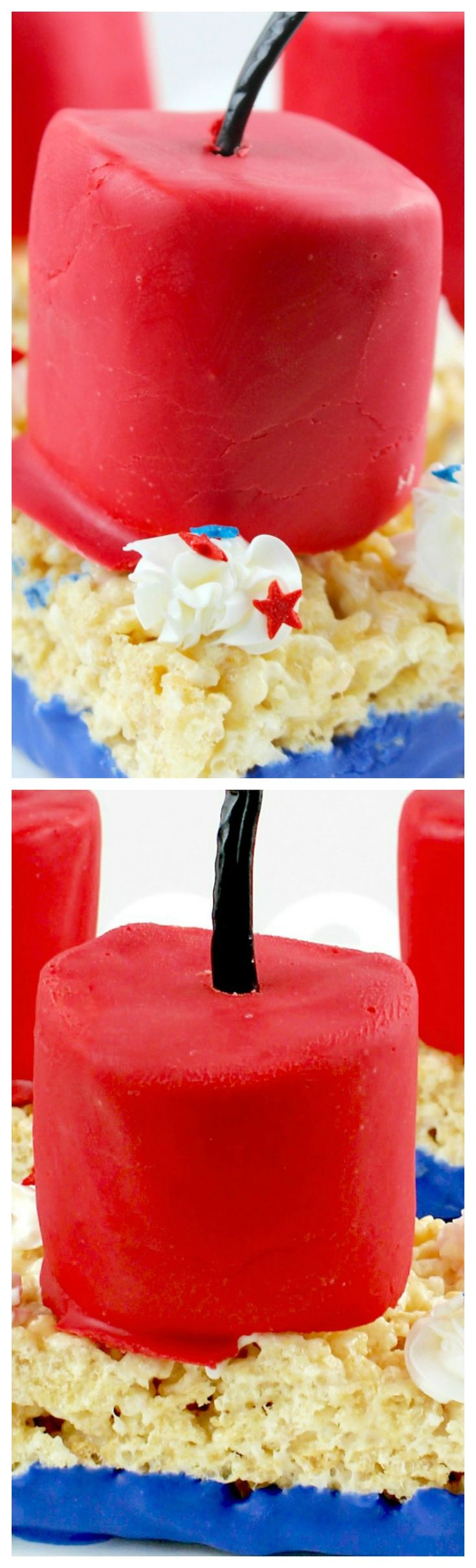 4th of July Edible Firecracker Rice Krispies ~ So easy and always a big hit!