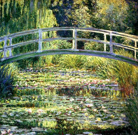 Some of his most famous paintings, such as his water lily and Japanese bridge paintings, were of his garden in Giverny. Description from mediterraneanstudies.org. I searched for this on bing.com/images