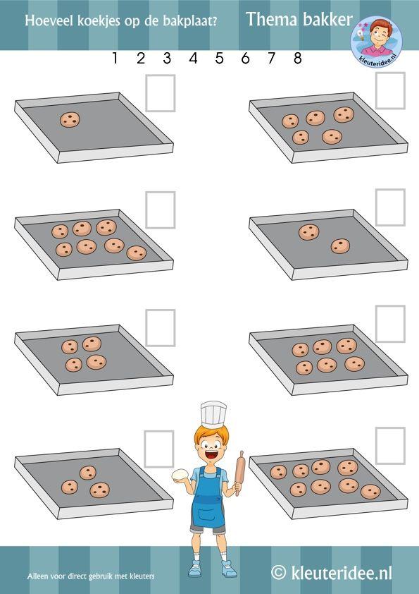 Hoeveel koekjes op de bakplaat, thema bakker, rekenen voor kleuters 2, by juf Petra van kleuteridee, Preschool baker math theme, free printable