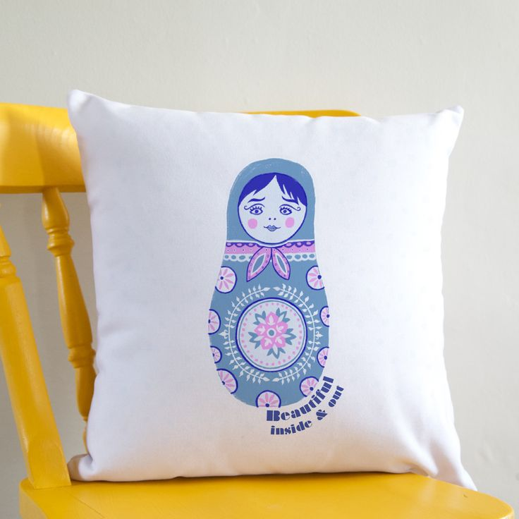 Russian Doll Print Personalised Cushion Beautiful Inside & Out White Square Cushion
