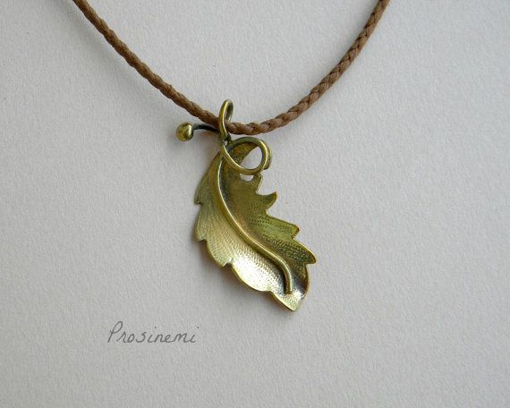 Leaf necklace bronze leaf pendant nature necklace by prosinemi