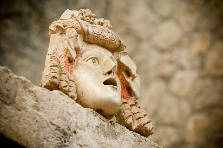 Ercolano. Parco Archeologico, Casa di Nettuno e Anfitrite, mascherone di personaggio teatrale  - id: 8632
