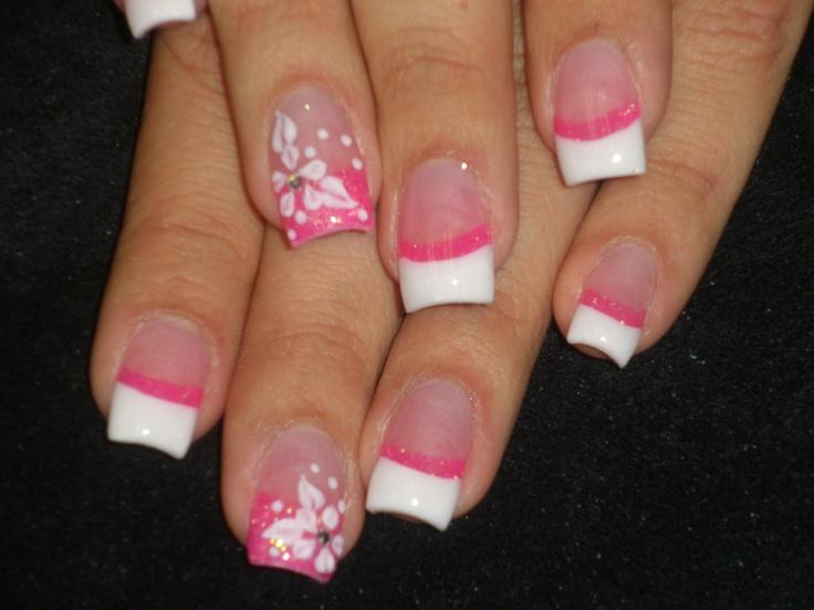 pink & white acrylic nail design