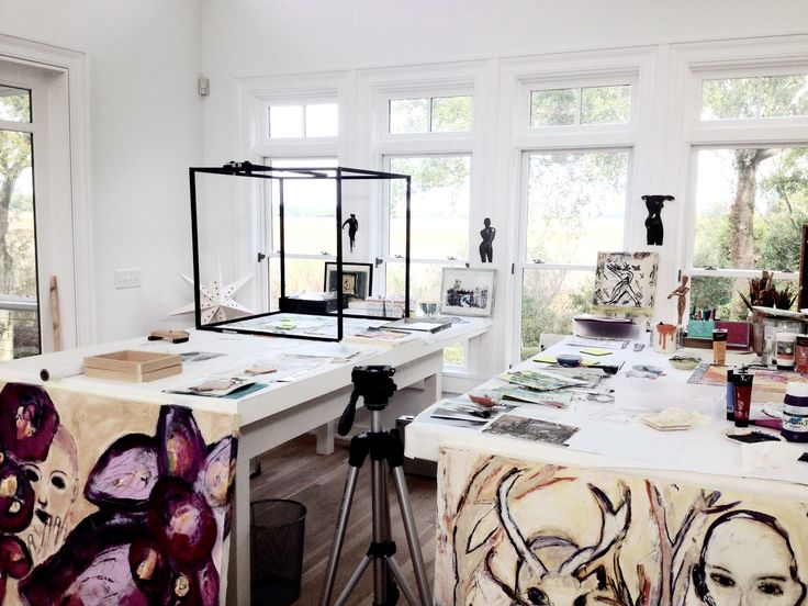 these is the work space where brittmarks creates her collages