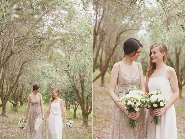 Pretty Taupe Wedding Dress.