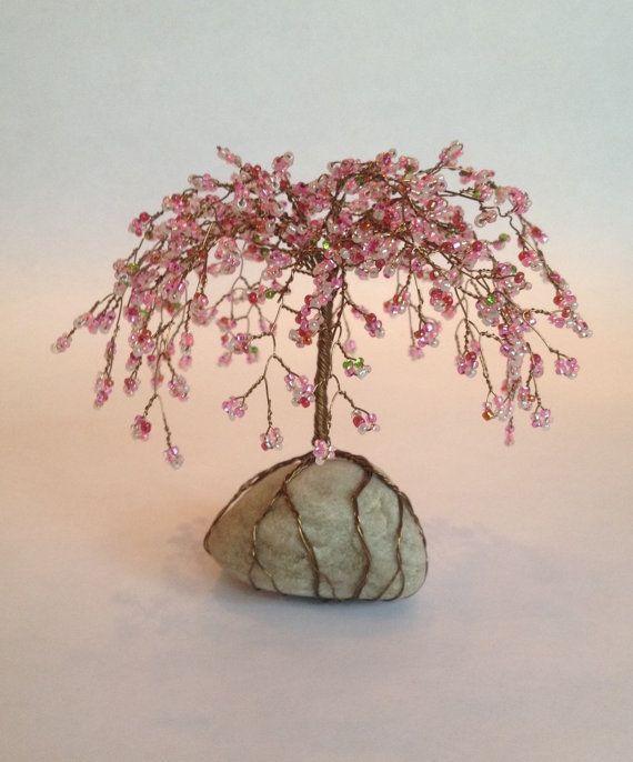 Weinende Kirschbaum Skulptur Perlen Dekoration Einzigartiges Geschenk Glasperlen Rosa Nach Maß   – beaded trees