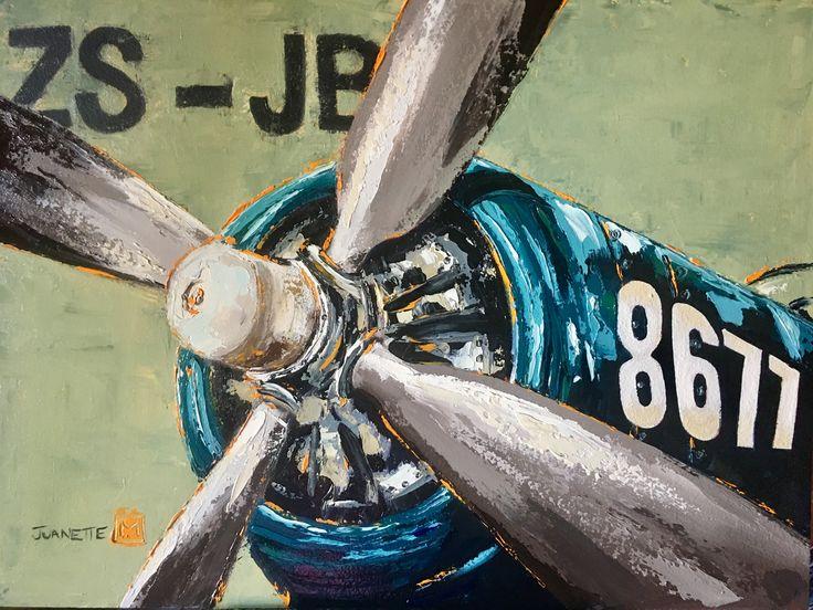 WW2 Corsair fighter Oil on board  By Juanette Menderoi