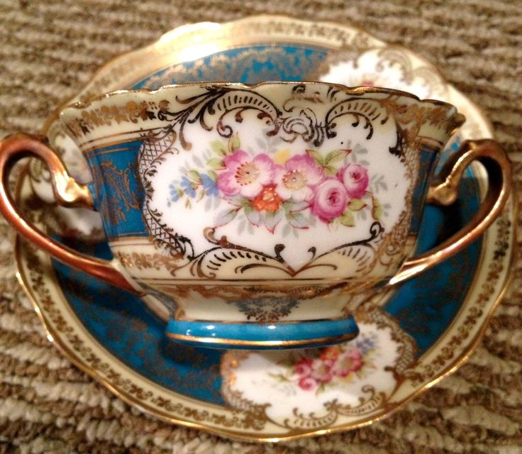 "Imperial Crown China Austria Bullion Cup Saucer Set Also called a ""trembleux"" so elderly and young can drink without spilling their tea."