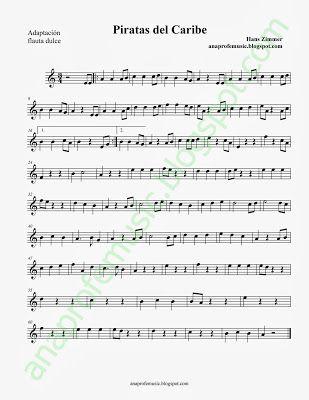 Ana Music: Partitura Banda Sonora de Piratas del Caribe, para flauta, clarinete, saxofón...