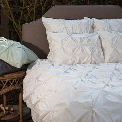 The Valencia Natural Off-White Pintuck Duvet Cover | Crane & Canopy