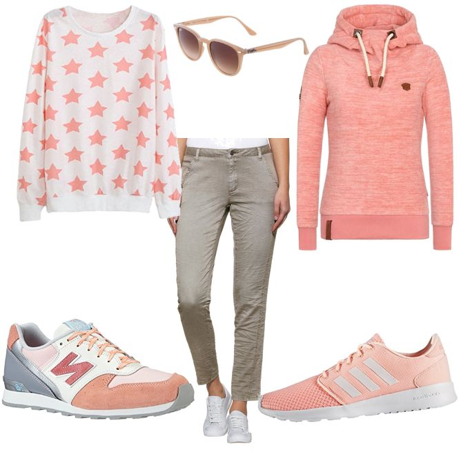 OneOutfitPerDay 2017-04-19 - #ootd #outfit #fashion #oneoutfitperday #fashionblogger #fashionbloggerde #frauenoutfit #herbstoutfit - Frauen Outfit Frühlings Outfit Outfit des Tages Sportoutfit adidas Adidas Neo Alba Moda Bluse Chinohose Damen Sneaker Jiayiqi Naketano New Balance Ostern Osteroutfit Outfit für Ostern Pullover Ray Ban Rosa Sneaker Sneakers Sonnenbrille
