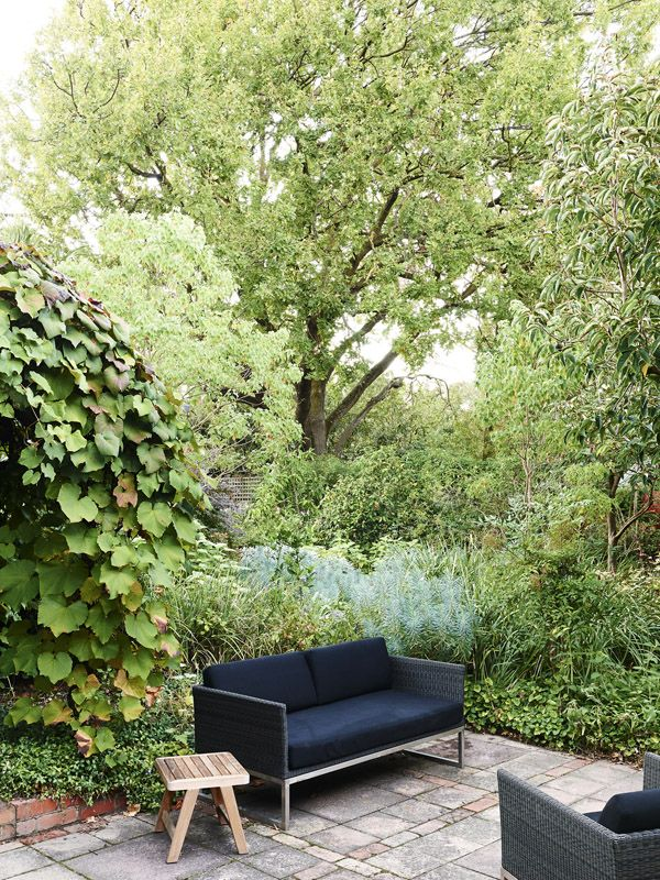 An Eco Outdoor sofa sits on a simple paved platform with brick detailing. A silver foliaged euphorbia (Euphorbia spp.) creates colour contra...