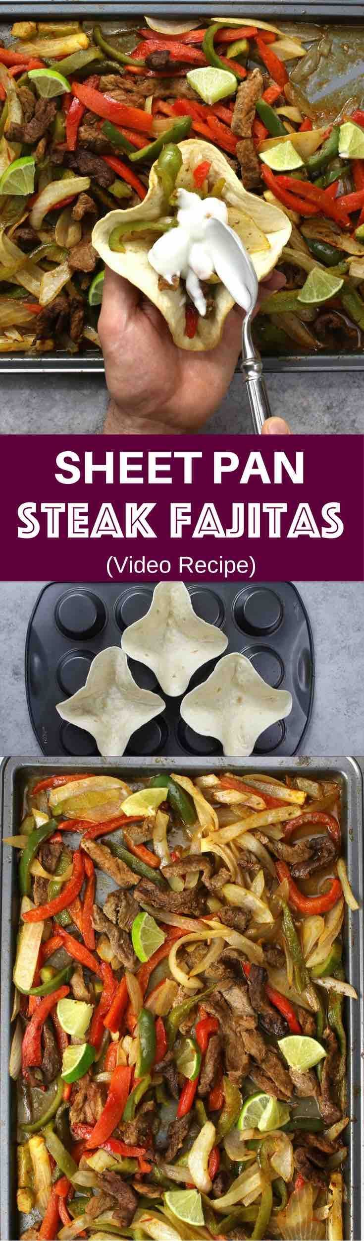 Sheet Pan Steak Fajitas With Taco Bowls – one of the easiest healthy dinner recipes. All you need is only a few simple ingredients: Mixed Bell peppers, sliced onions and steak, mixed with some simple spices (ground cumin, chili powder, garlic powder, salt and olive oil). Perfectly baked in the oven, and served on baked tortilla bowls. Simply Yummy! Make-ahead recipe. Quick and easy dinner recipe. | tipbuzz.com