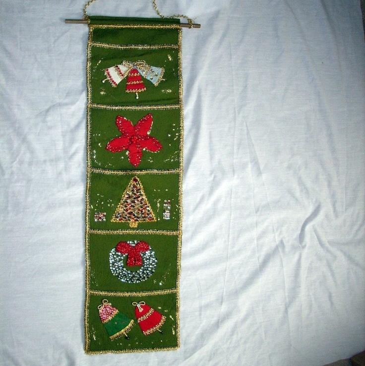 Christmas Card Wall Decor : Vintage christmas card holder decoration green beautiful