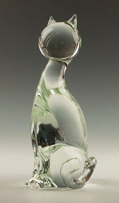 Signed Licio Zanetti Murano Glass Cat Sculpture by TableauxArts, $112.00