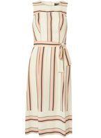 Womens Ivory Stripe Midi Dress- Ivory