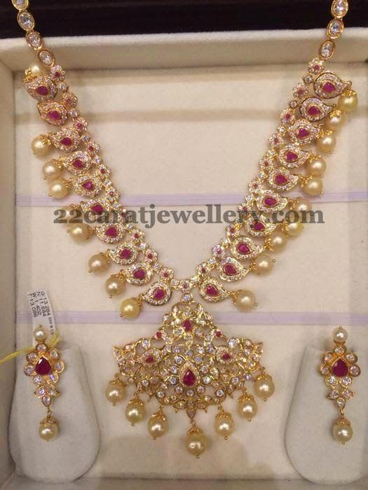 Jewellery Designs: 80 GMS CZ Ruby Set