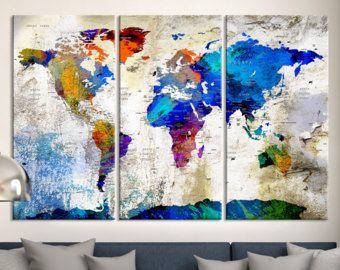 mondo mappa tela – Etsy IT