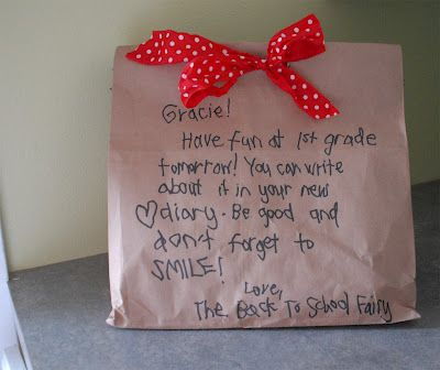 Love this sweet little idea!  Back to School Fairy ~ Leaves a book, notebook, and pencils on your doorstep the night before school starts