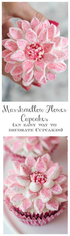 Marshmallow Flower Cupcakes!! So gorgeous!! And really is the easy way to decorate beautiful cupcakes!