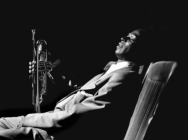 Miles Davis, backstage at 'Just Jazz' concert, Los Angeles, 1950 • Photographed by Bob Willoughby