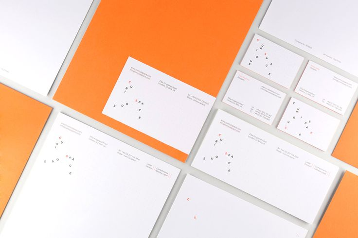 Logo and stationery with fluorescent orange print detail designed by Mash Creative and May Ninth for Curious Space