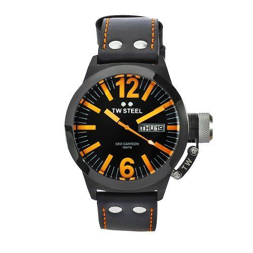 TW Steel Men's CE1027 CEO Canteen Black Leather Dial Watch TW Steel. $228.02. Black coated steel case black leather band. Black dial. Water-resistant to 330 feet (100 M). Mineral crystals. Quartz movement. Save 49% Off!