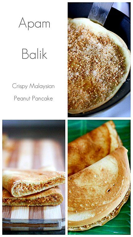Apam Balik. Malaysian Peanut Pancakes. Made from rice flour, the pancake itself bears resemblance to the Indian Appums, though those are more sombrero like in shape...must make.