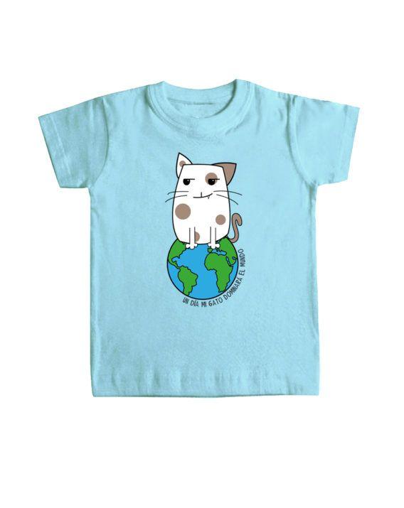 camisetas niño UN DIA MI GATO DOMINARA EL MUNDO nuevos