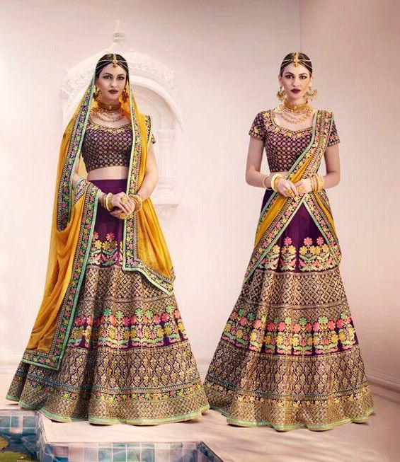bridal lengha choli  MAROON BRIDAL WEAR HEAVY WORK LEHENGA CHOLI IN HANDLOOM SILK FABRIC