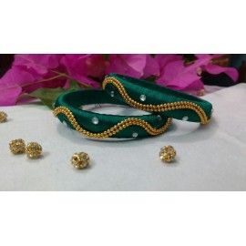 Bangle pair made of silk thread available in green colour