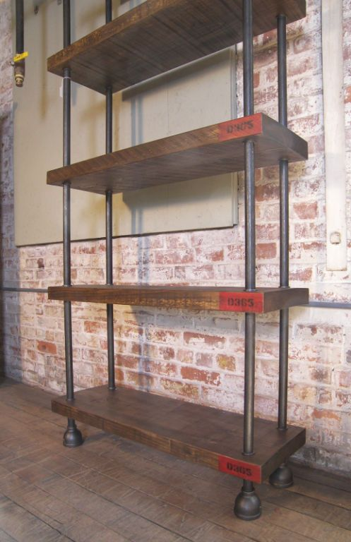 Industrial wood steel pipe cast iron shelving storage for Diy industrial bookshelf