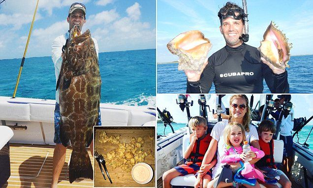 The eldest Trump and the sea: Don Jr. reels in a 140 lbs. Grouper, goes scuba diving and fries up some freshly caught conch on Bahamas vacation with wife Vanessa and their kids   Read more: http://www.dailymail.co.uk/news/article-4640258/Donald-Trump-Jr-takes-Bahamas-vacation-wife-kids.html#ixzz4lGLLZn8l  Follow us: @MailOnline on Twitter   DailyMail on Facebook