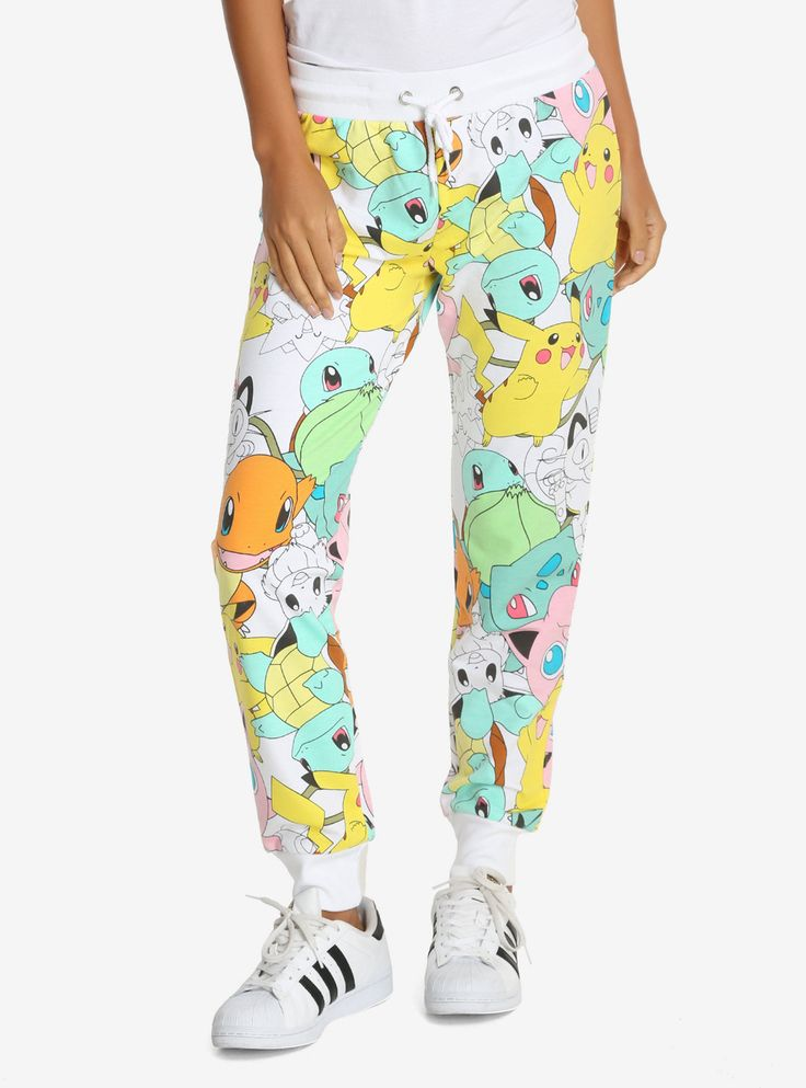 Whether you wear them to sleep or to train to hunt Pokémon, you'll be super comfy in these joggers! White joggers with an allover print of the most popular Pokémon- Charmander, Squirtle, Bulbasaur, Meowth, Vulpix, and of course, Pikachu! Elastic drawstring waist.   60% cotton; 40% polyester  Wash cold; dry low  Imported  Listed in women's sizes