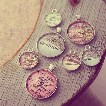 personalised vintage map necklace by posh totty designs boutique   notonthehighstreet.com