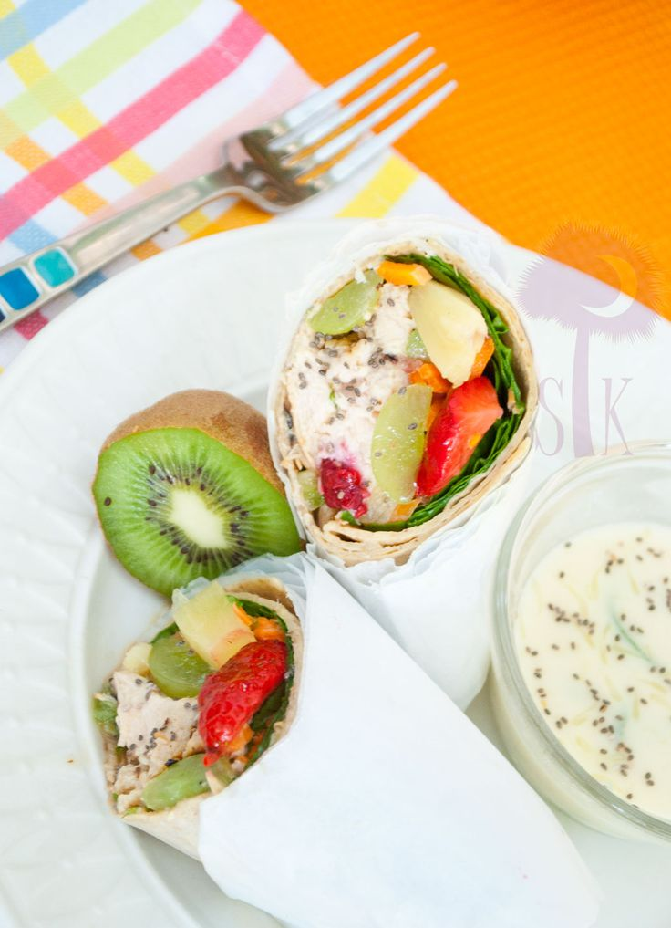Tropical Chicken Wraps w/ Honey-Lime Dipping Sauce. We're sold!Honey Lim