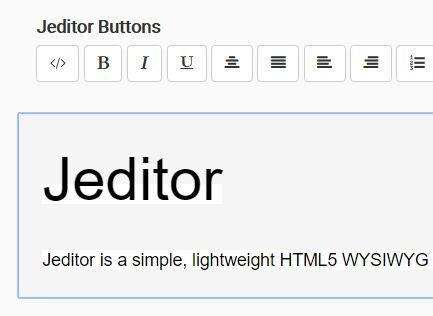 Jeditor is a simple, lightweight HTML5 WYSIWYG text editor build using #jQuery library, Bootstrap framework and FontAwesome iconic font.
