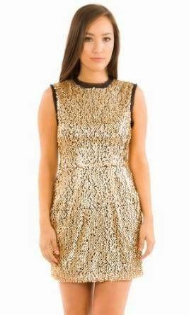 sequin shift dress: Gold Sequin Shift Dress