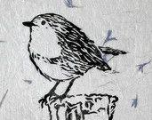 Linoleografia stampa uccello.  Blocco stampato Wall Art.  Stampa di Robin.  Lino stampa su carta a mano.  Incisione.  Stampa di uccello.