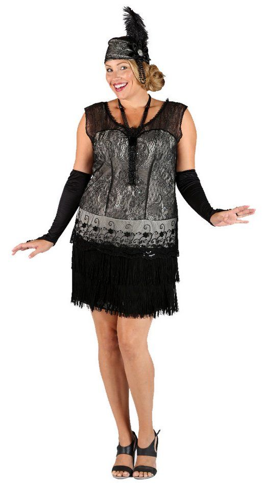 Plus Size Deluxe Black Lace 20's Flapper Costume - Candy Apple Costumes - Deluxe Costumes