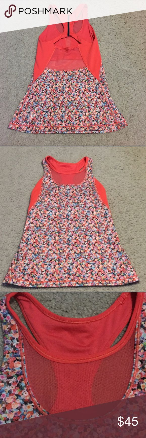 """Lululemon """"Mesh With Me"""" Floral Tank- Size 2 Lululemon """"Mesh with Me"""" Tank. Floral and tangerine color. Size 2. Perfect condition. Very rare tank top with beautiful back straps and mesh panels! No pads included. Other Lululemon tanks and skirts in closet for bundle discount! lululemon athletica Tops Tank Tops"""