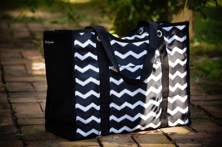 Thirty One All Day Organizing Tote In Black Chevron Www