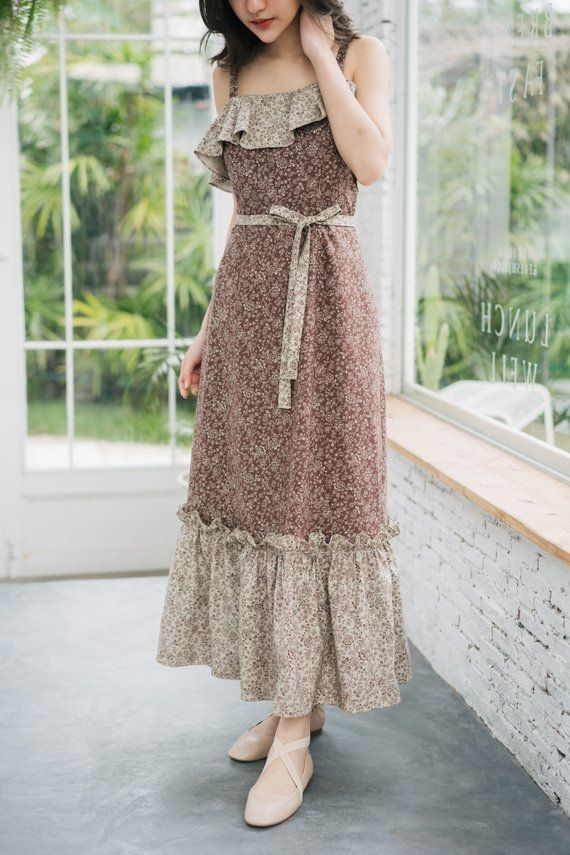 f1aa63a9ac4a Maxi Dress Cotton Dress Ruffle Tiered Long Dress Vintage Inspired Dress  Brown Summer Dress Sundress